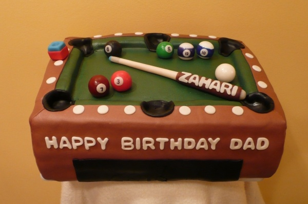 Billiards Pool Table Cake - What dad wouldn't like this?