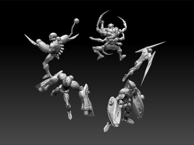 Cyberpunk Miniatures - Sector Cyborg Squad   3D Print Model   3D