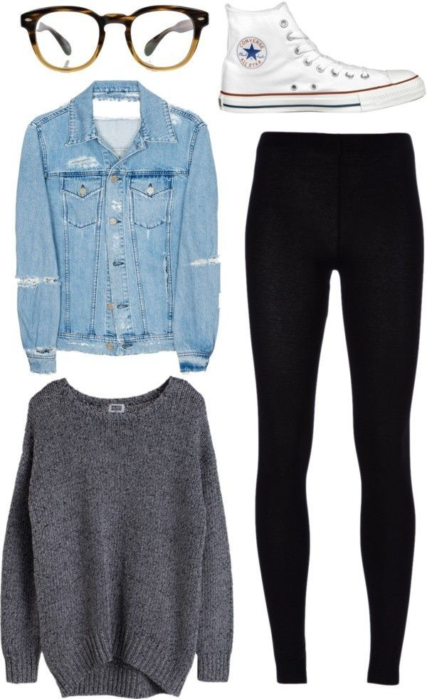 Casual outfit idea - leggings, sweater, denim jacket, and white converse.  Like the look? Get a pair of MHOC black leggings on Amazon for only $11.99!