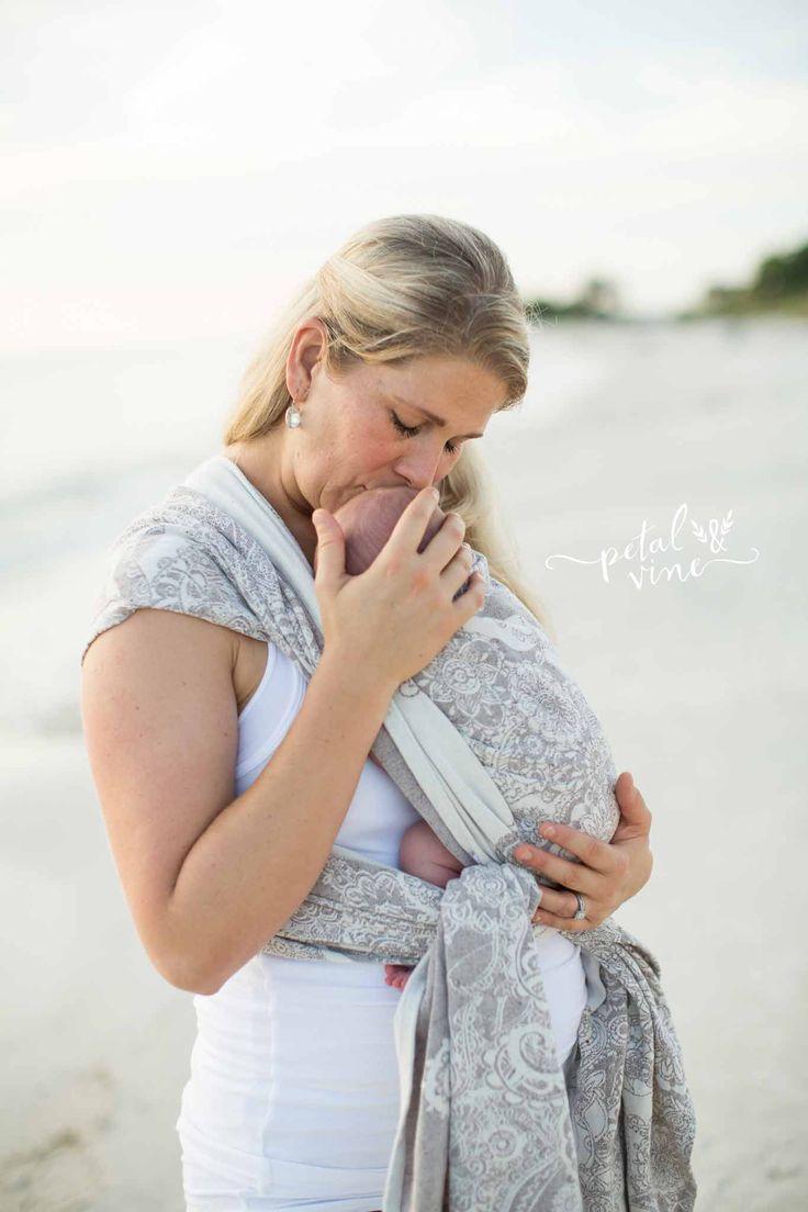 Newborn Kangaroo Carry in Natibaby Henna Woven Wrap