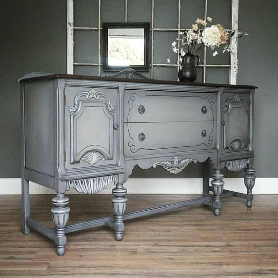 competitive price 72dda 62c67 Vintage painted refinished ornate buffet cabinet, sideboard ...