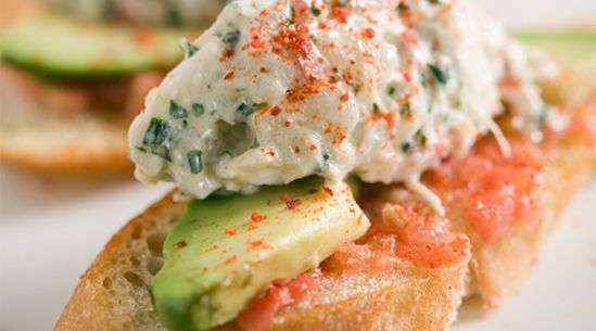 Crab toasts with avocado: Tapas, Crabs Toast, Palms Spring, Crab Salad, Healthy Food, Tomatoes, Favorite Recipes, Crabs Salad, Yes Plea