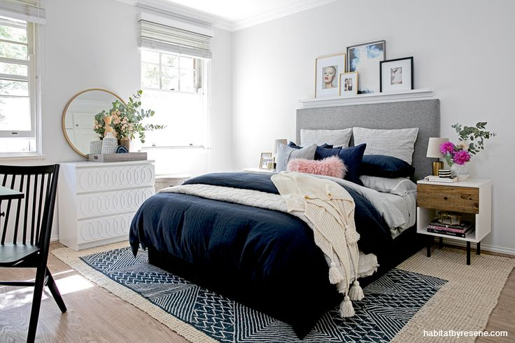Writer and blogger Jen Bishop recently made over her bedroom, painting it in Resene Black White and adding layers for warmth, texture, colour and interest. She chose navy and gold as accents; great for creating a grown-up unisex sanctuary.   Pictures Image courtesy of west elm, by Jacqui Turk.   http://www.habitatbyresene.co.nz/6-paint-trends-just-keep-going