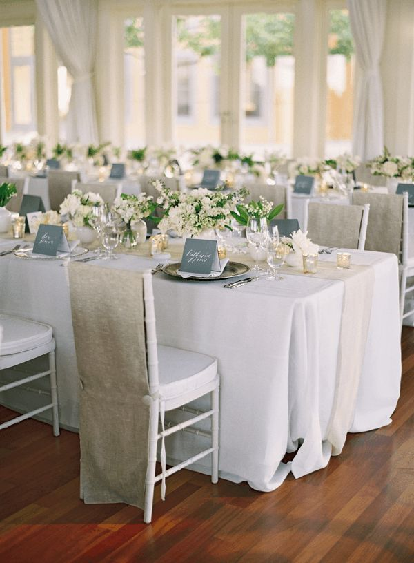 Neutral colors incorporating burlap and white florals / DIY Wedding Ideas | Wedding Blog | Used Wedding Dresses | Once Wed
