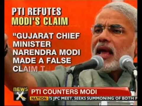 """Gujarat Chief Minister Narendra Modi today made a false claim that PTI had reported in July that Congress President Sonia Gandhi's foreign trips had cost Rs 1,880 crore during a three-year period. Modi, who has stirred a controversy over government expenses on Gandhi's foreign tours, told CNN-IBN, """"In the month of July, Outlook magazine, TOI, Indian Express and some other newspapers reported from the news of PTI that Madam Soniaji's three years of foreign tour expenses are Rs 1,880 crore."""""""