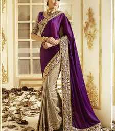 Buy purple Embroidered silk saree with blouse designer-embroidered-saree online