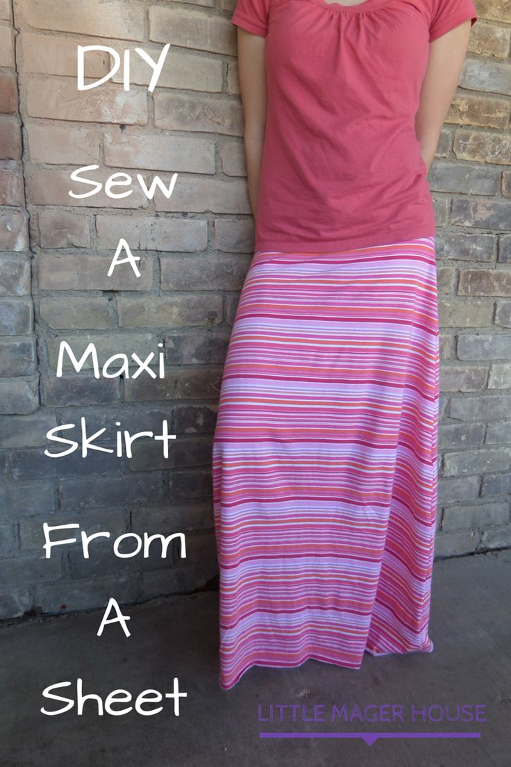 Turn your jersey sheets into cute maxi maxi skirts! This is so easy!    diy maxi skirt, sew maxi skirt, sheet to maxi