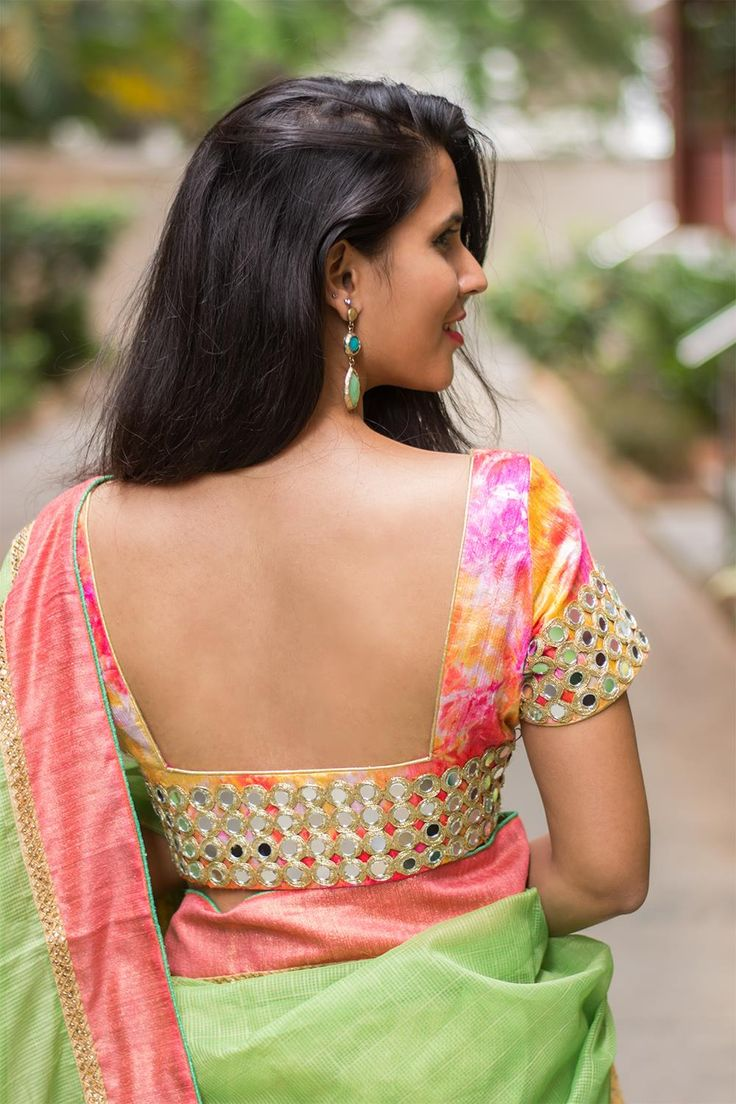 Presenting the much awaited and much coveted shibori mirrored blouse! Take this beauty to any occasion…be it a festival, a cocktail party, a wedding or a sangeeth and glisten like an ethereal being as the lights catch the mirrors.   Another versatile blouse with endless imaginative pairing options. Pair away!