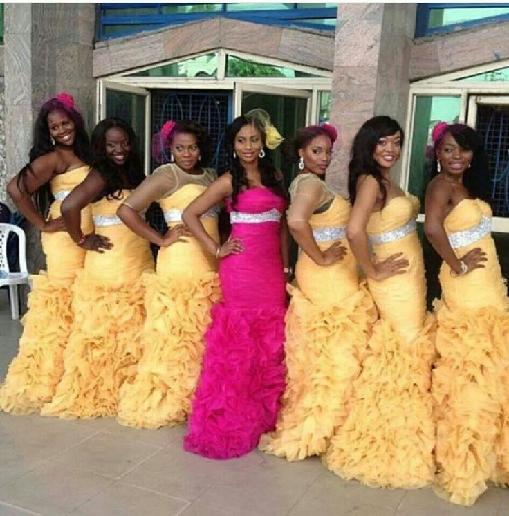 Pink and yellow wedding dresses