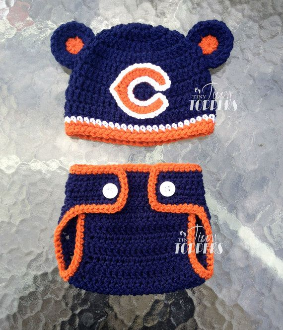 Free Crochet Pattern For Chicago Bears C : Crocheted CHICAGO BEARS Hat and Diaper cover set baby girl ...