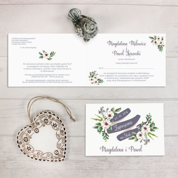 Zaproszenie ślubne Rustykalne pastele