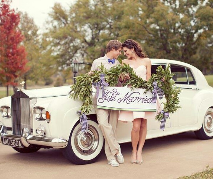 Sweet Photo Idea · Just Married BannerWedding CarsWedding ...