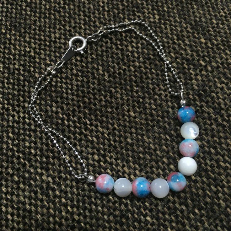 bracelet   mother of pearl  candy quartz  color: Aqua pink