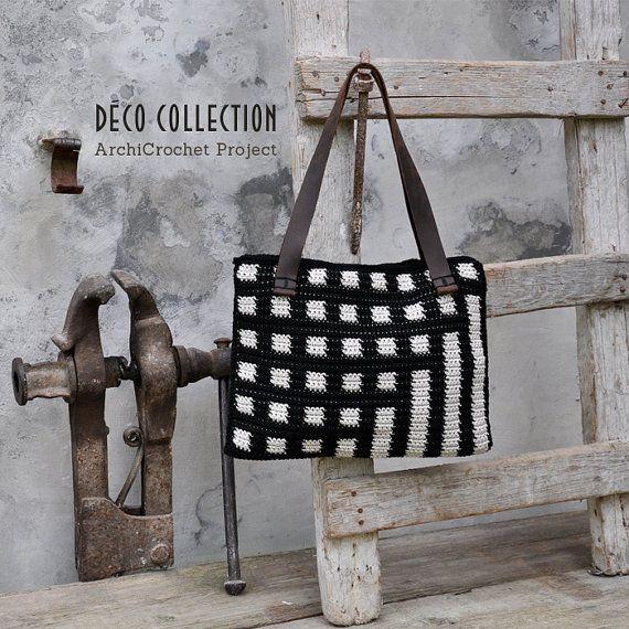 Tote bag, laptop bag, shoulder bag leather handles, handmade cotton bag, geometric design bag tapestry crochet