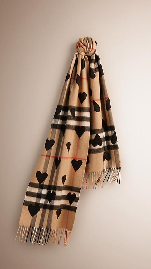Black The Classic Cashmere Scarf in Check and Hearts - 1