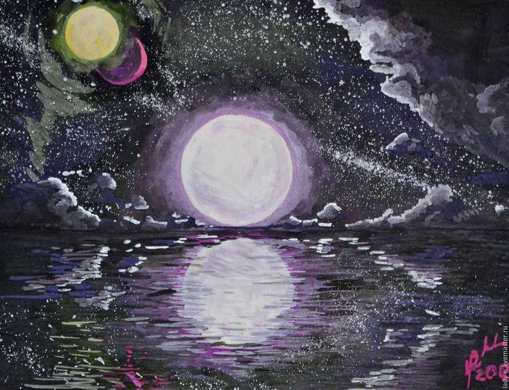 """Купить """"Пейзаж с тремя лунами"""", картина, гуашь - черный, фиолетовый, серебряный, белый, космос, звезда"""