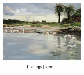 Original art work. Once in a hundred years flamingo visit to Kommetjie, South Africa.
