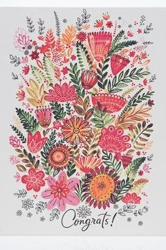 Colorful Flowers - Congratulations Card