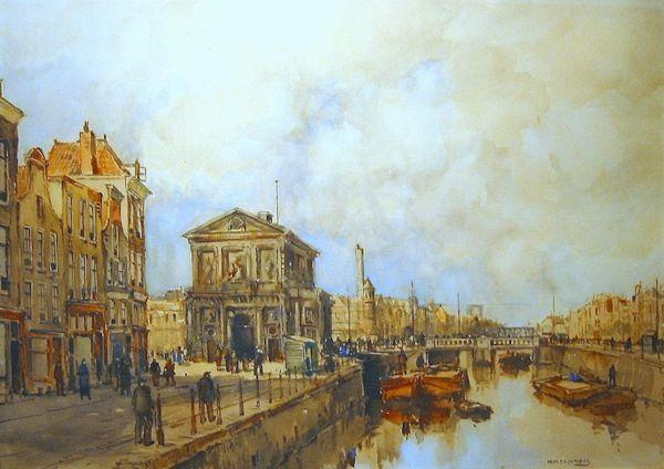 Herman Cornelis Adolf Paradies,  Delftse Poort in Rotterdam. Hier vertrokken de trekschuiten naar Delft