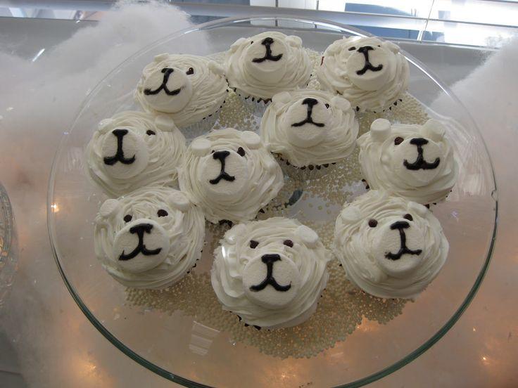 """Easy"" Polar Bear Cupcakes.  Part of an Arctic birthday party."