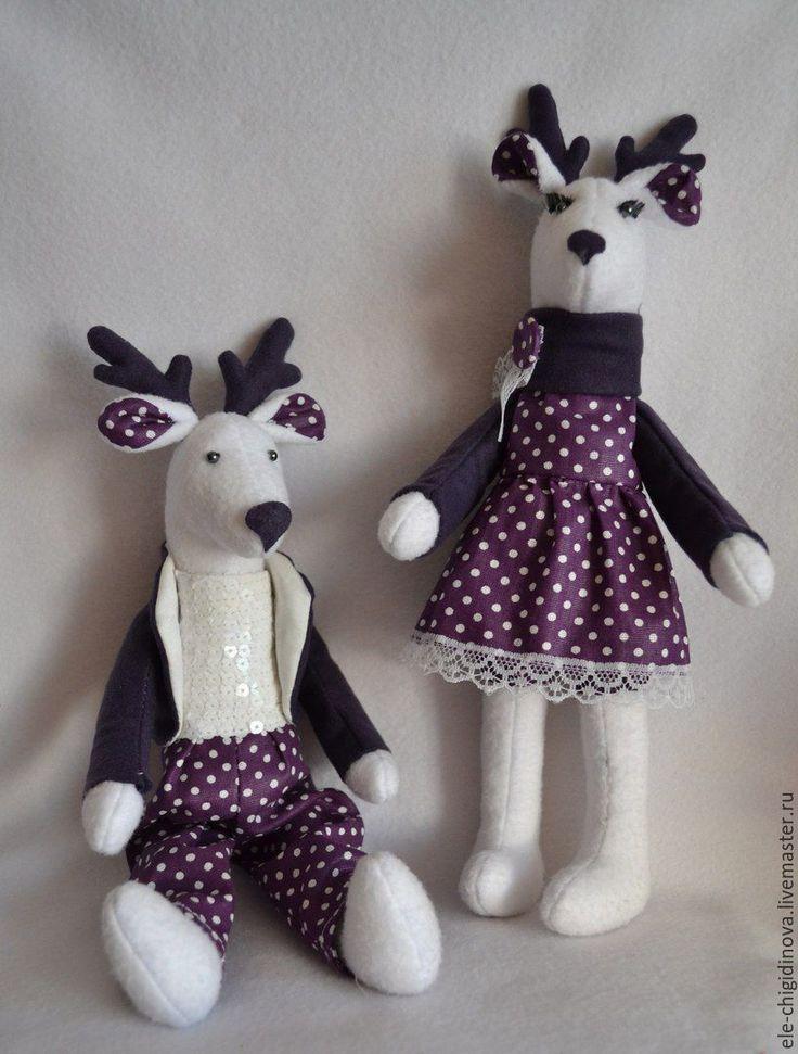 Купить Пара Олений Тильда - комбинированный, тильда, тильда олень, мягкая игрушка, тюмень