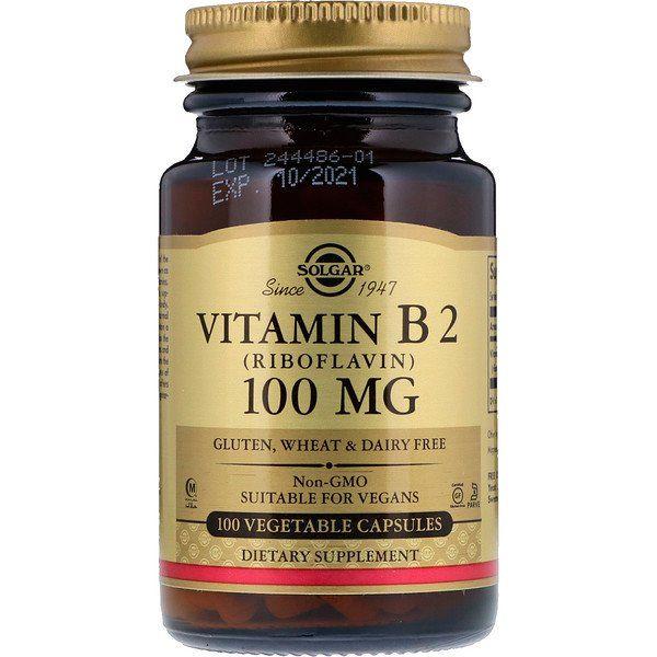 Solgar Vitamin B2 Riboflavin 100 Mg 100 Vegetable Capsules Vegetable Capsules Vitamins Vitamin B2