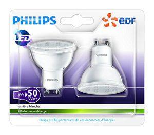 Philips – Lot de 2 Ampoules LED Spot – Culot GU10 – 5W Consommés – Équivalent 50W – Partenariat Philips/EDF