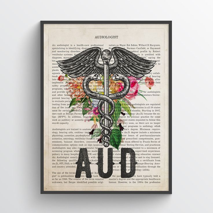 Aud with flowers print audiologist gift audiology print