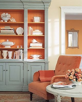 Painting The Back Of A Cabinet The Same Color As The Next Room Unifies The Spaces Do With Our Bookcases Orange In The Back Like The Blue Too