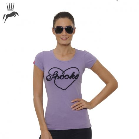 Spooks Equestrian Big Heart Ladies Tee in Violet - £29.99. Step into summer in style with the Spooks Big Heart T-Shirt in this gorgeous violet hue, perfect for those warmer days.