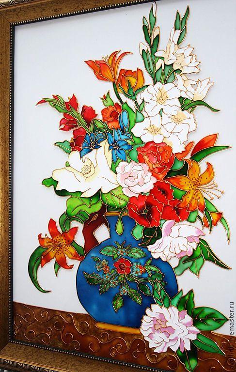 """Купить """"Цветы в вазе"""", картина на стекле роспись по стеклу, витражная роспись - картина на стекле"""
