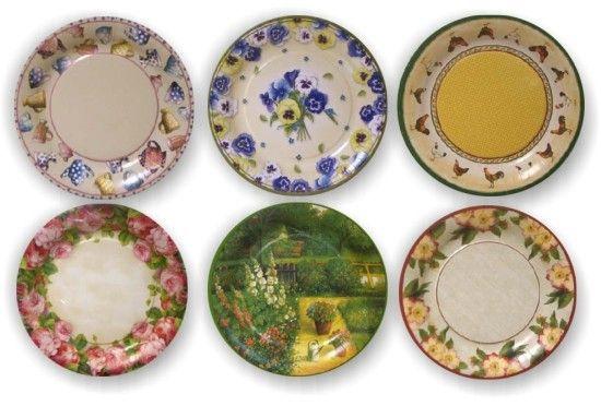 Manualidades con platos decoupage.