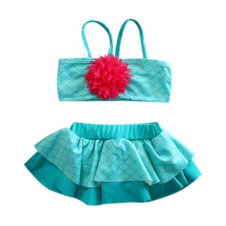 Princess Girls Little Mermaid Bikini Suit Swimming Costume Swimsuit Swimwear US