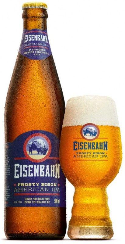 Cerveja Eisenbahn Frosty Bison, estilo American IPA, produzida por Cervejaria Sudbrack, Brasil. 6.9% ABV de álcool.