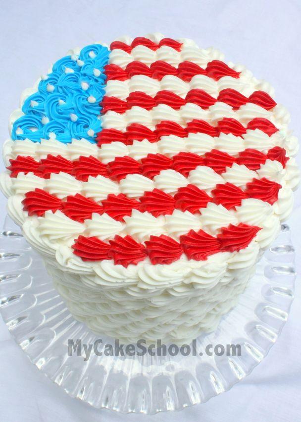 Fourth of July Cake in Buttercream! A free MyCakeSchool.com tutorial! MyCakeSchool.com Online Cake Classes & Recipes!