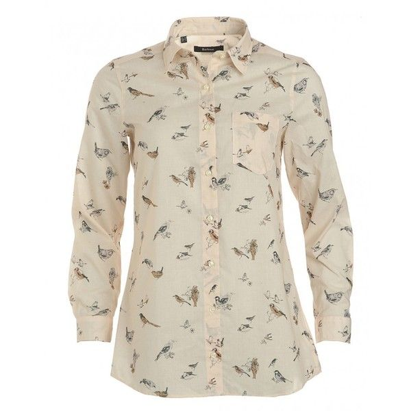 Barbour Heritage, Cream Long Sleeve Bird Print 'Finchale' Shirt ($70) ❤ liked on Polyvore featuring tops, cream, relax shirt, cotton logo shirts, long sleeve cotton tops, long sleeve shirts and logo shirts