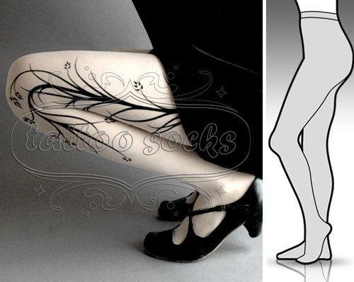 new: Small/Medium sexy white Long Branches  tattoo par tattoosocks