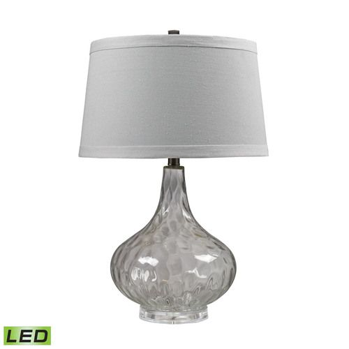 Clear Water Glass LED Table Lamp With White Linen Shade - D147-LED