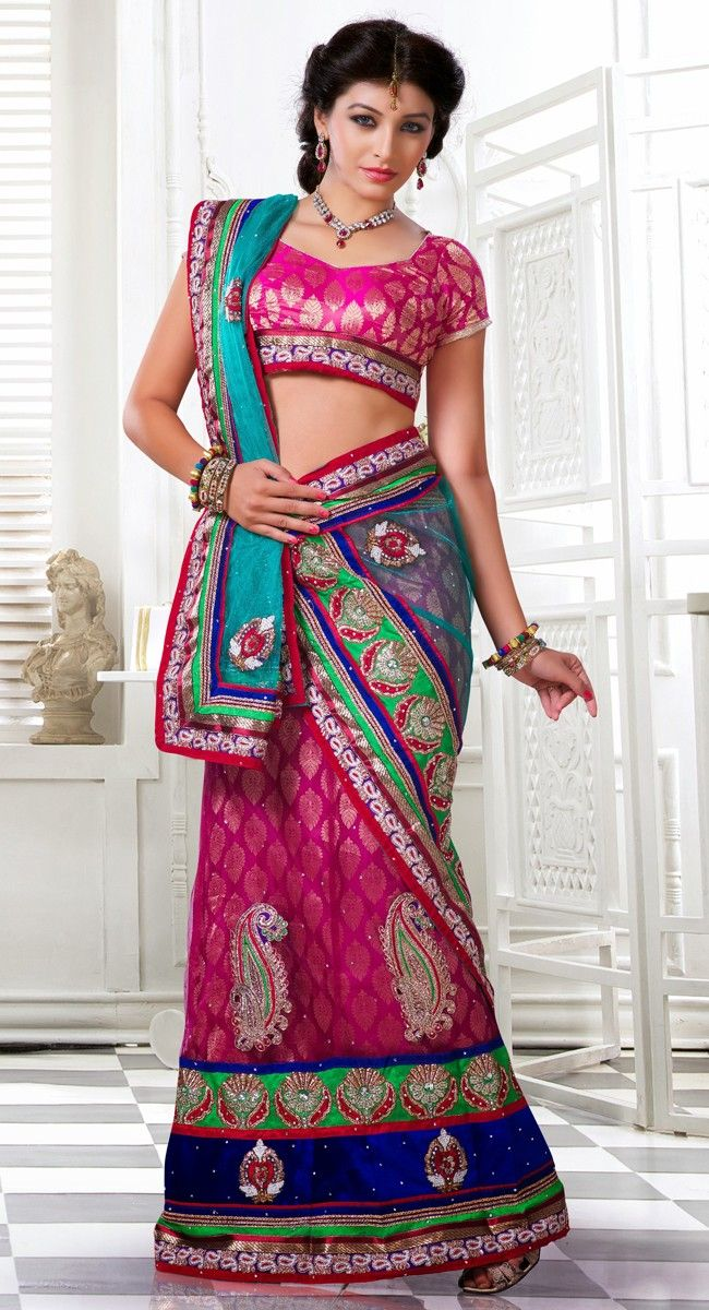 Smart Magenta Color Net Lehenga #Choli