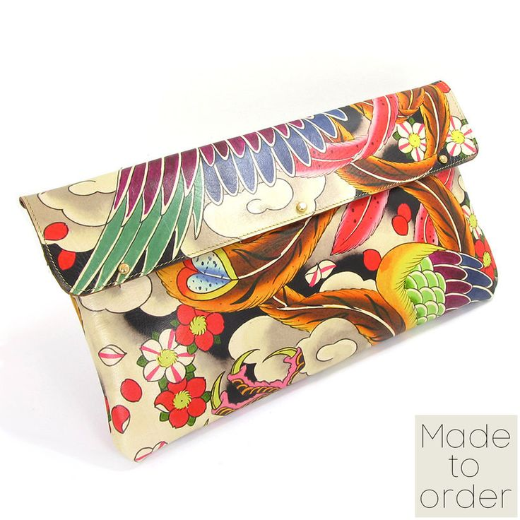 Printed Leather Clutch Bag - Japanese Phoenix Tattoo Design by Tovi Sorga and David J Watts