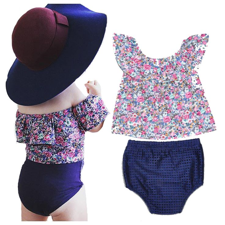 Baby Girls clothing set Flowers T-shirt tops Tees+blue PP pants summer Brands kids girls clothes suit roupas infantil meninas