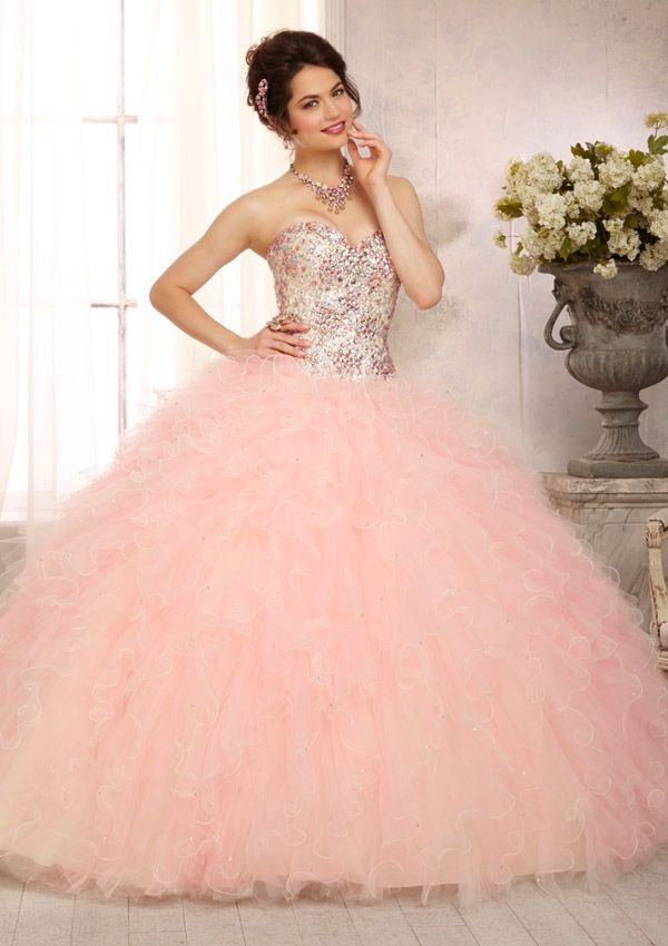 quinceanera dress from Vizcaya by Mori Lee Style 88095 Multi-Colored All Over Beaded Bodice on a Ruffled Tulle Skirt