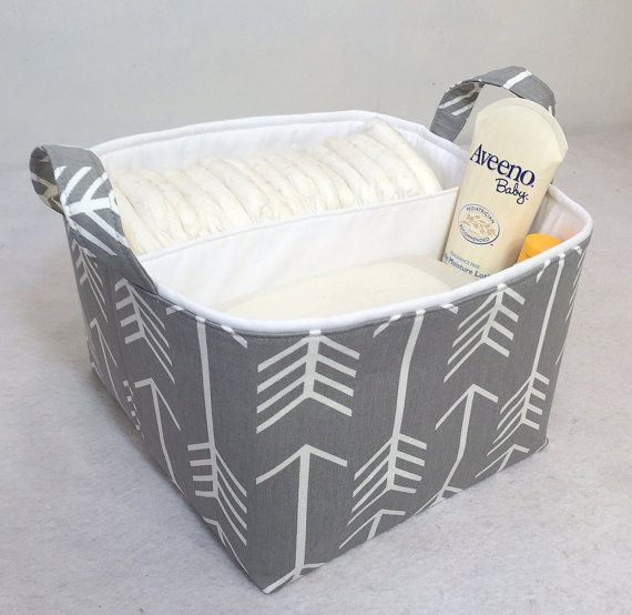"LG Diaper Caddy 10""x10""x7"" Fabric Storage Bin, Fabric Organizer White Arrow on Grey and Solid White Lining"