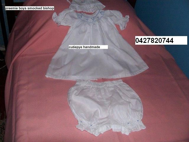 smocked bishop preemie soft muslin a cutiepye creation $120 pls ring dont email 0427820744