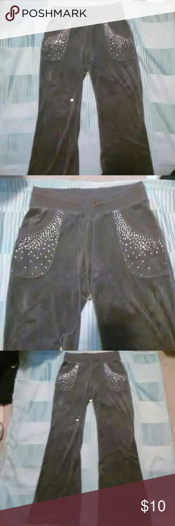 """Grey Valor Sweatpants Size Small Grey Valor Sweatpants Size Small. Purchased only thinking they were Victoria Secret because the silver squares on the strings of the pants say """"VS"""" on one side and a heart on the other. They are made by the brand Plush & Lush but are in good condition and very comfortable. Listed under Juicy Couture for views, however I do have Juicy Couture outfits for sale. Juicy Couture Pants"""