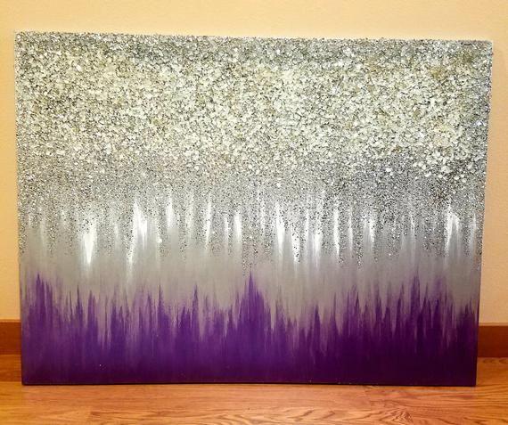 Original Silver Glitter Art Etsy Glitter Wall Art Purple Wall Art Glitter Art