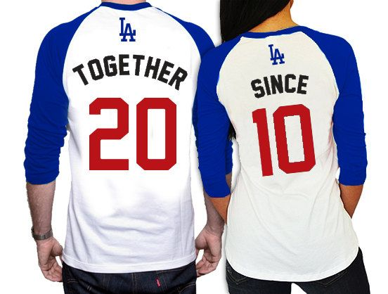 Hey, I found this really awesome Etsy listing at https://www.etsy.com/listing/217649414/his-and-hers-matching-la-dodgers-raglan