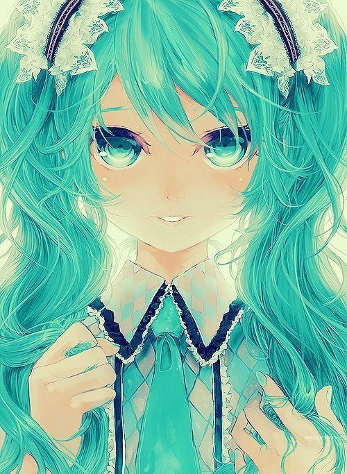 Anime Miku vocaloid. Very well conducted. The colors are glorious.