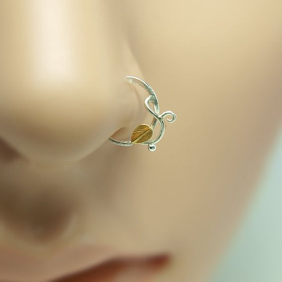 Leaf Nose Ring, gold nose ring,18K, sterling silver nose ring,16 gauge,18 gauge,20 gauge,21 gauge