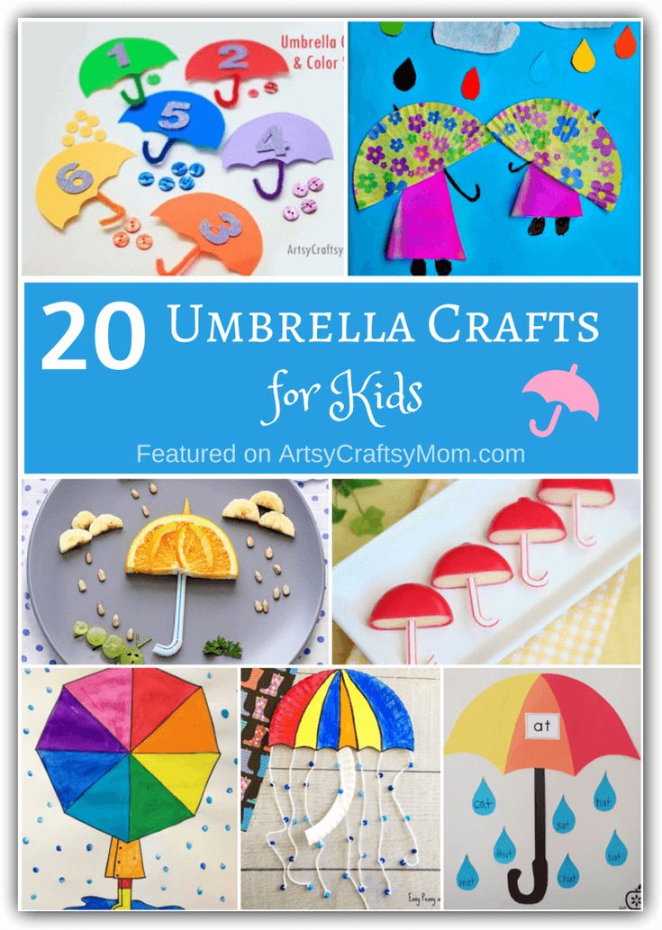 It may not be raining, but that doesn't stop us from making these 20 unusual umbrella crafts for kids! From umbrellas that open and close to umbrellas that can be eaten - we've got it all! #umbrellacraft #rainydaycraft #artsycraftsymom